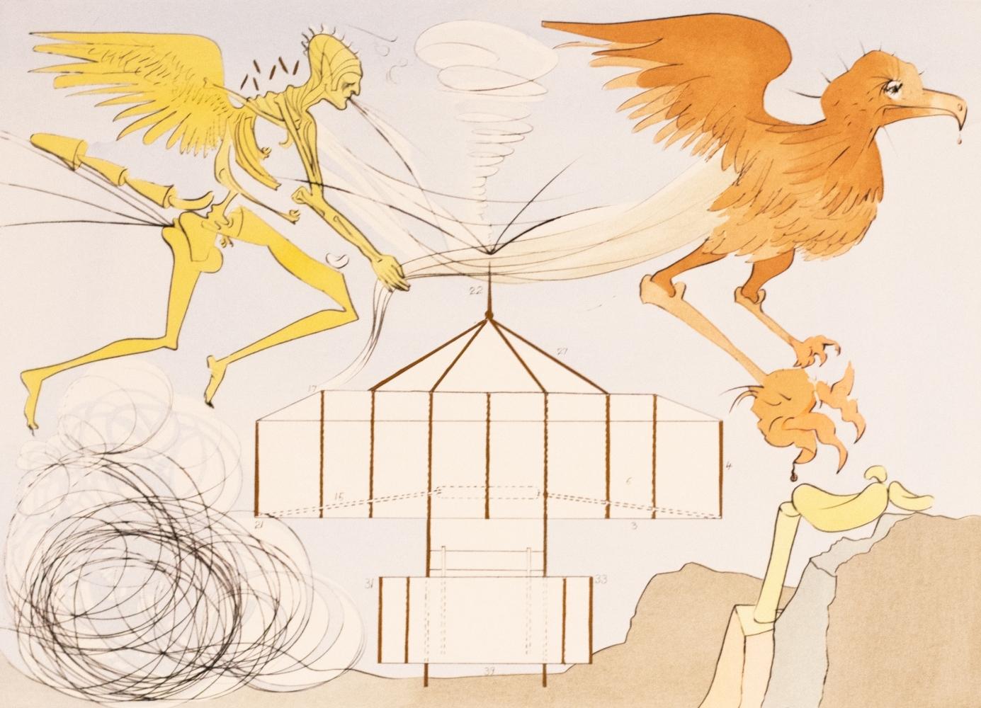 Salvador Dali, L'aeroplane, From Homage a Leonardo da Vinci, 1975, Engraving with Pochoir on Arches paper, 22.25 × 29.88 inches, Salvador Dali signed print, Salvador Dali prints for sale