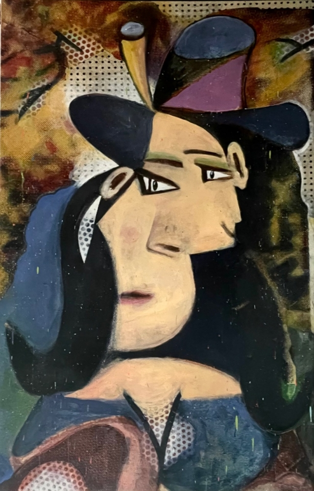 Bruce Helander, Two Faces Have 1, 2020, Acrylic with Embellishments on Canvas with Printed Background, 78 x 50 inches, bruce helander art for sale
