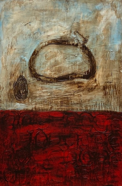 Connie Lloveras, Rock, Bird, Scribble and Circles, 2019, Mixed Media on Canvas, 72h x 48w in