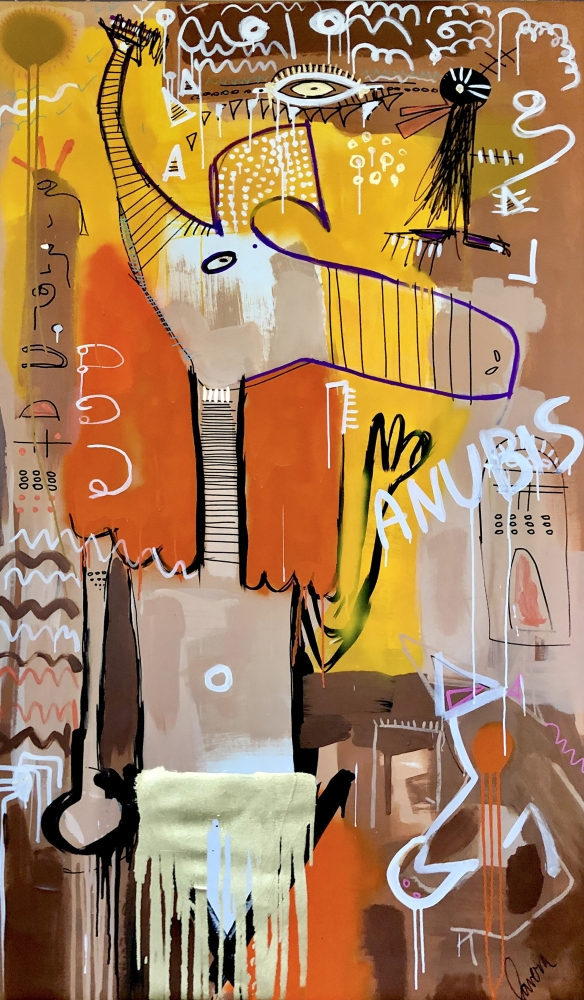 Fernanda Lavera, Anubis, 2020, Acrylic on canvas, 79 x 51 inches, Graffiti and Street Art for Sale at Manolis Projects Art Gallery