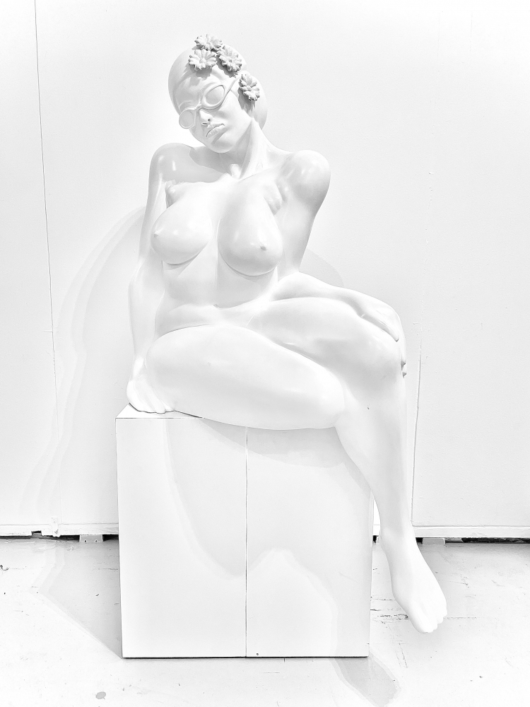 Didier Audrat, TALIMA-white, Female sculpture, 2020, Mixed Polymer sculpture, 50h x 32w x 26d inches, Art Sculptures for sale
