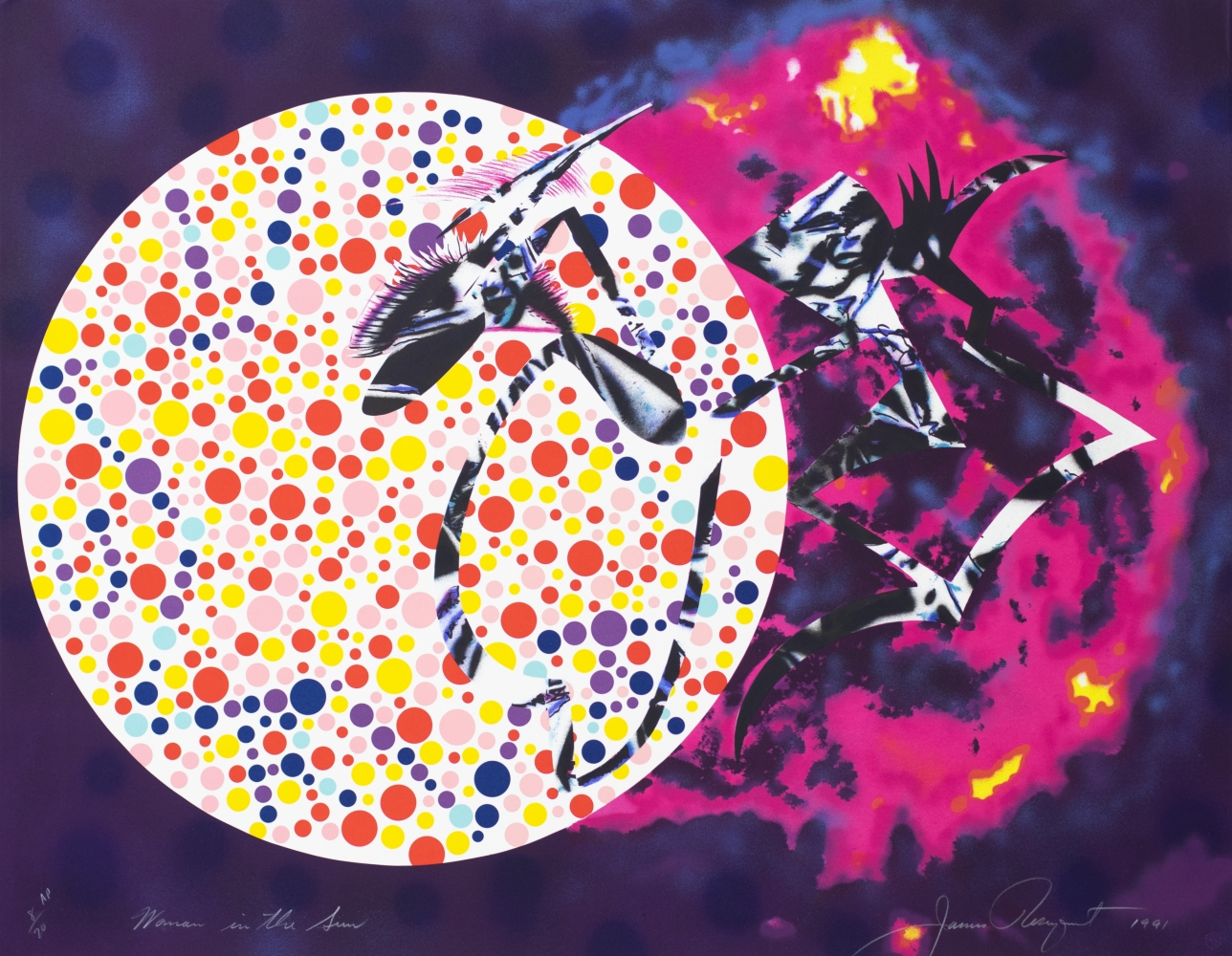 James Rosenquist, Woman in the Sun, 1991, James Rosenquist Lithograph on Rives BFK paper, 33 x 42.5 inches, AP 8 of 20, edition of 60, James Rosenquist Art For sale at Manolis Projects Art Gallery, Miami Fl