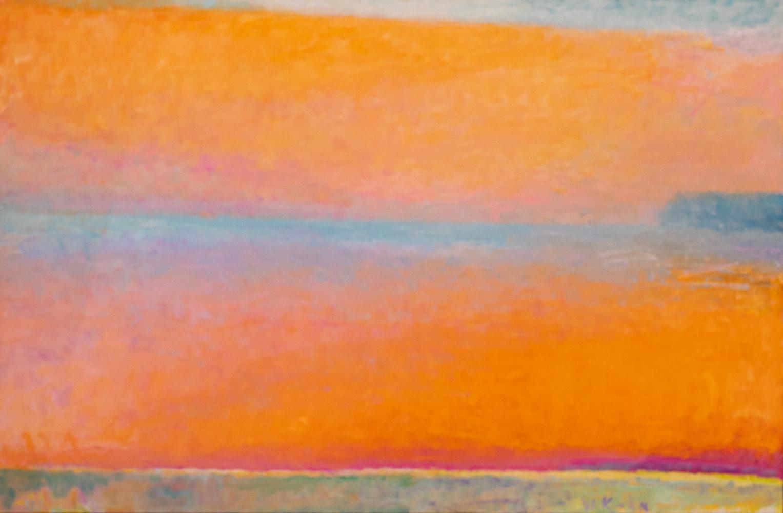 Wolf Kahn, Blue Horizon (Lacran), 1997, oil on canvas, 43 x 66 inches, Wolf Kahn art for sale, Wolf Kahn Oil Paintings