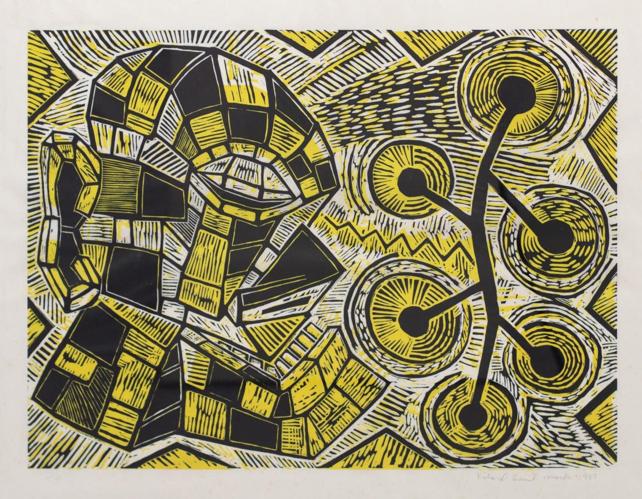 Richard Mock, Untitled, 1985, Linocut print, 35.25 x 42.75 inches