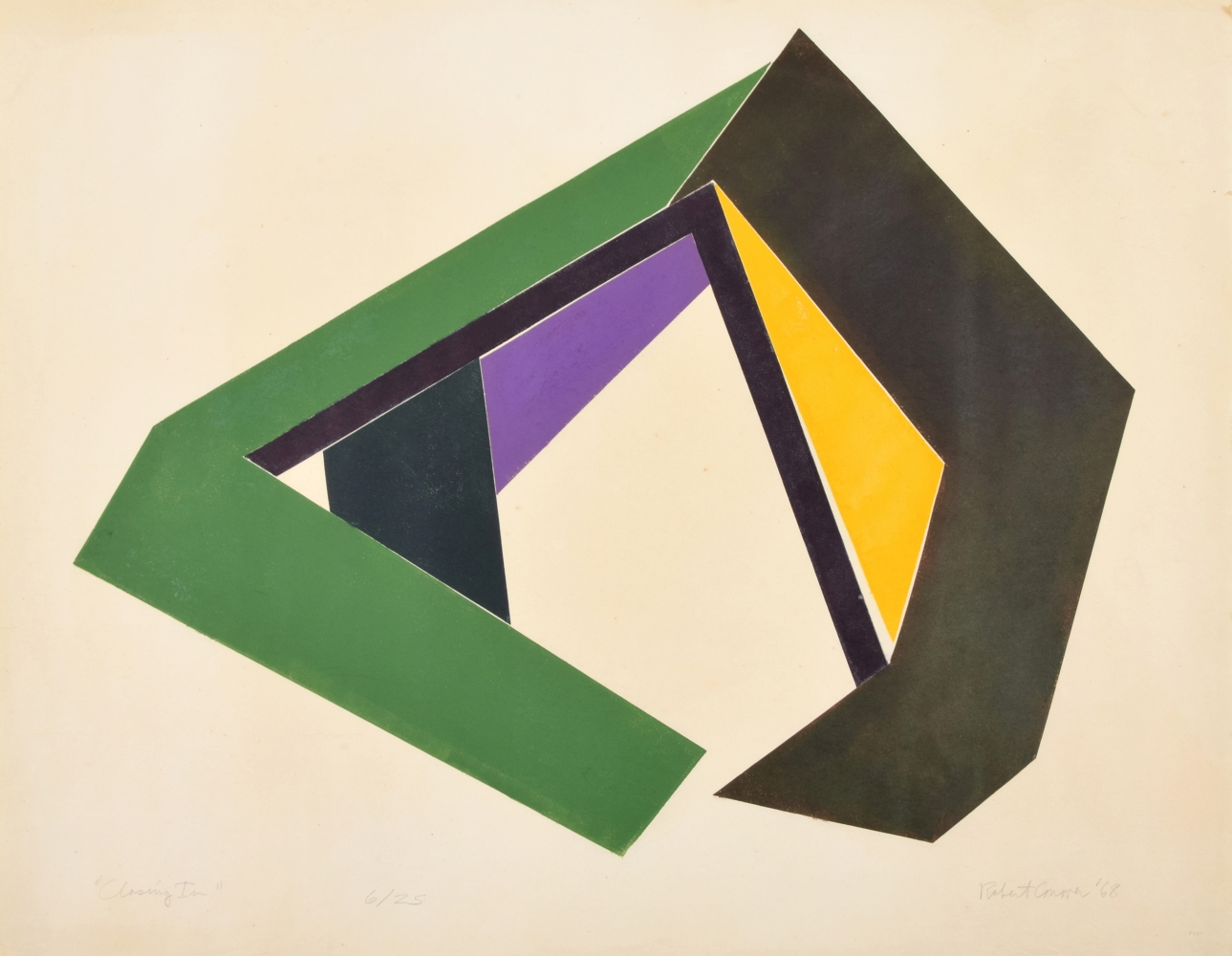 Robert Conover, Closing In, 1968, color screenprint on paper, 28.75 x 36.75 inches, Robert Conover for sale