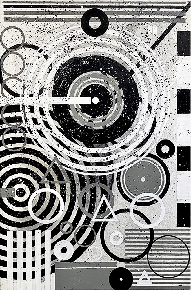 j. steven manolis, Black & White (Concentric) 2020, 72 x 48 inches, Acrylic on Canvas, Large Black and White Wall Art, Abstract expressionism art for sale at Manolis Projects Art Gallery, Miami, Fl