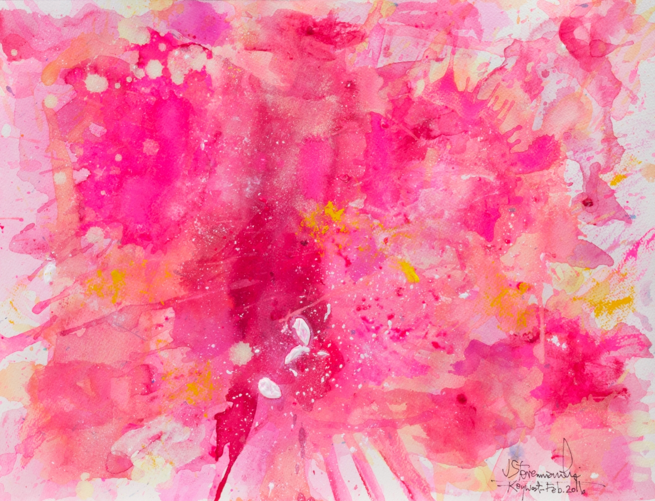 J. Steven Manolis-Flamingo-Key West, 1832-2016-1216.05, watercolor, gouache and acrylic painting on Arches paper, 12 x 16 inches, Pink Abstract Art, Tropical Watercolor paintings for sale at Manolis Projects Art Gallery, Miami, Fl