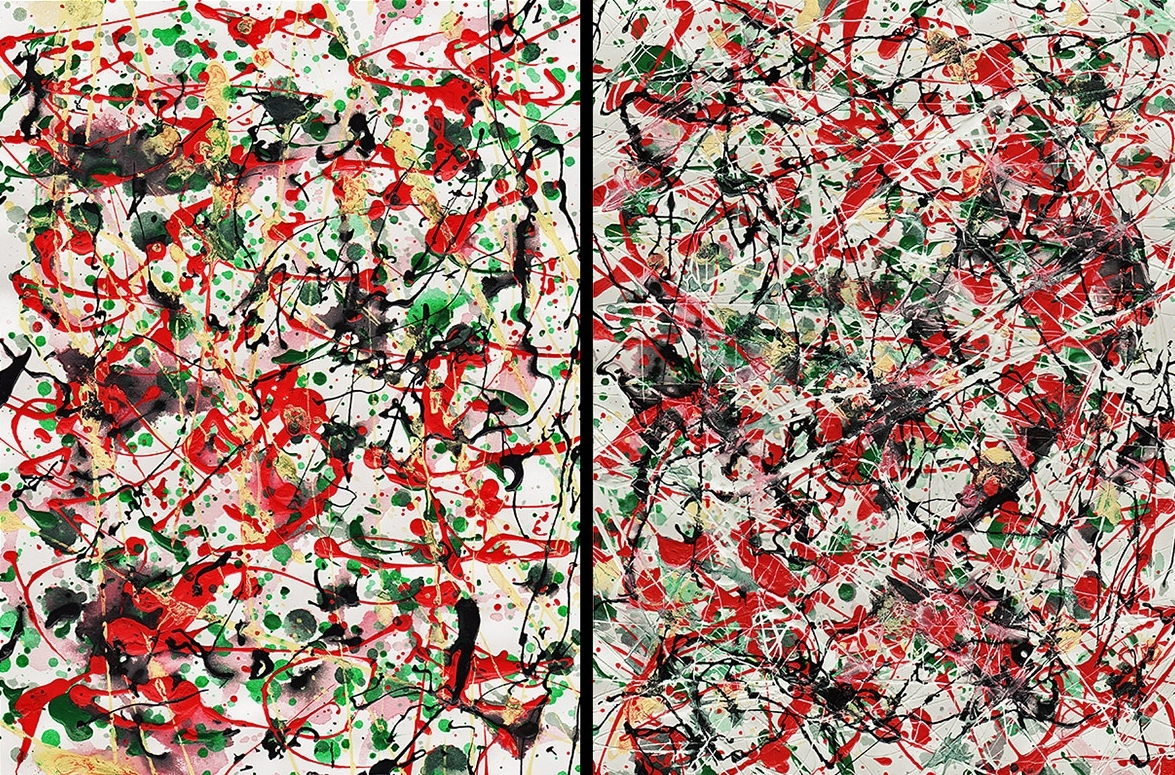 J. Steven Manolis, Chaos Red, Green & Black-2002.1&2, enamel and oil on paper, 12 x 18 inches (Diptych), For sale at Manolis Projects Art Gallery, Miami Fl