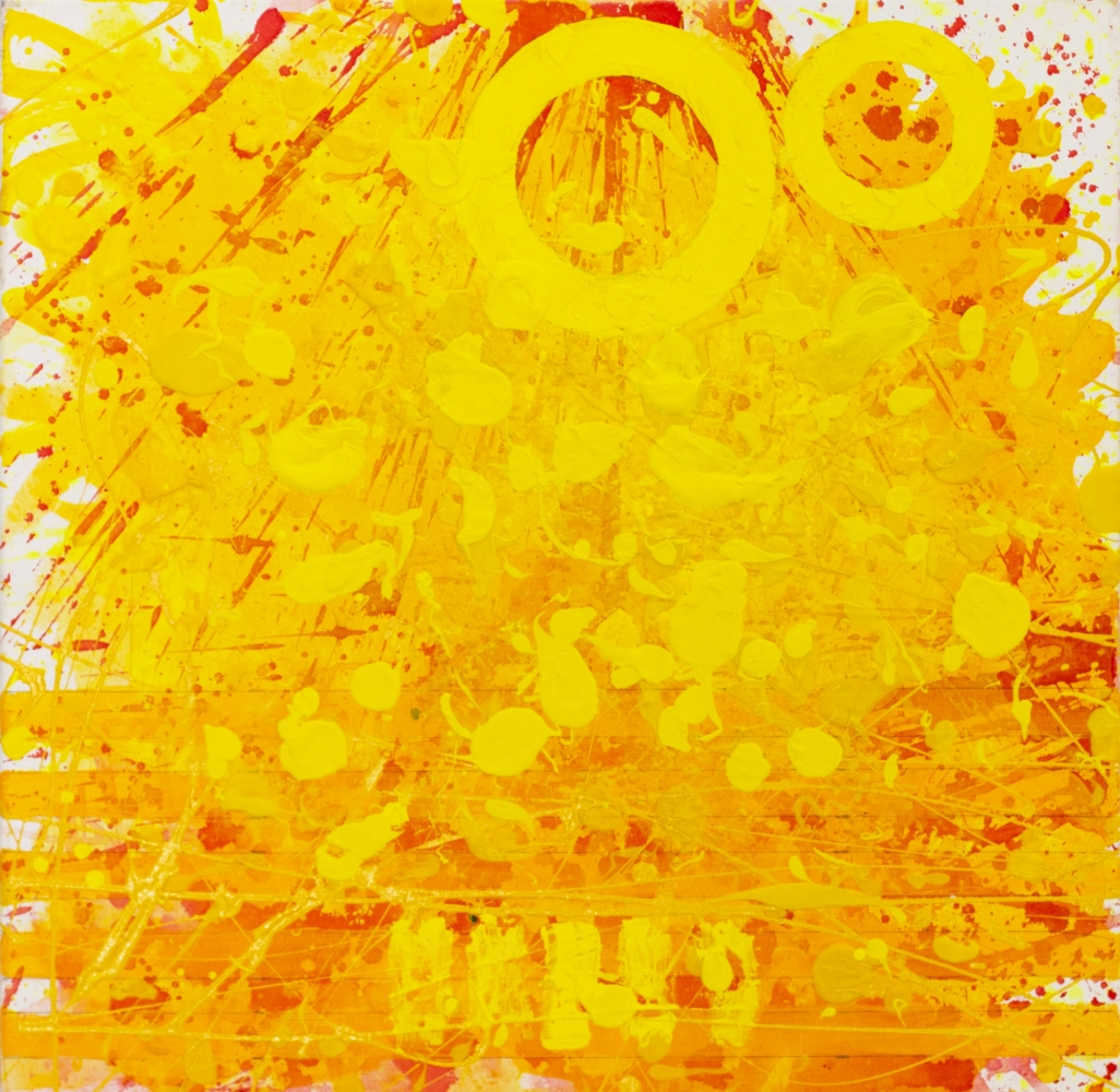J. Steven Manolis, Sunshine (24.24.01), 2020, acrylic and latex enamel on canvas, 24 x 24 inches, Sunshine art, Yellow Abstract Art for Sale at Manolis Projects Art Gallery, Miami Fl