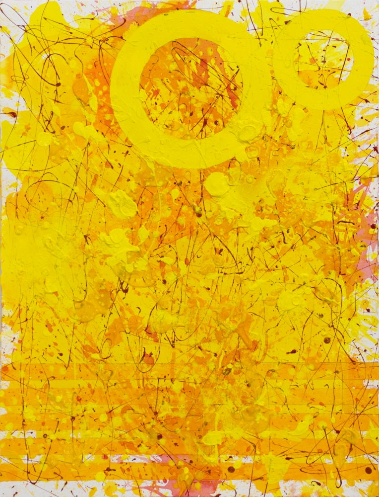 J. Steven Manolis, Sunshine 2020 (30.22.02), 2021, Acrylic and latex enamel on paper, 30 x 22 inches, Sunshine Art, Yellow Abstract art for Sale at Manolis Projects Art Gallery, Miami Fl