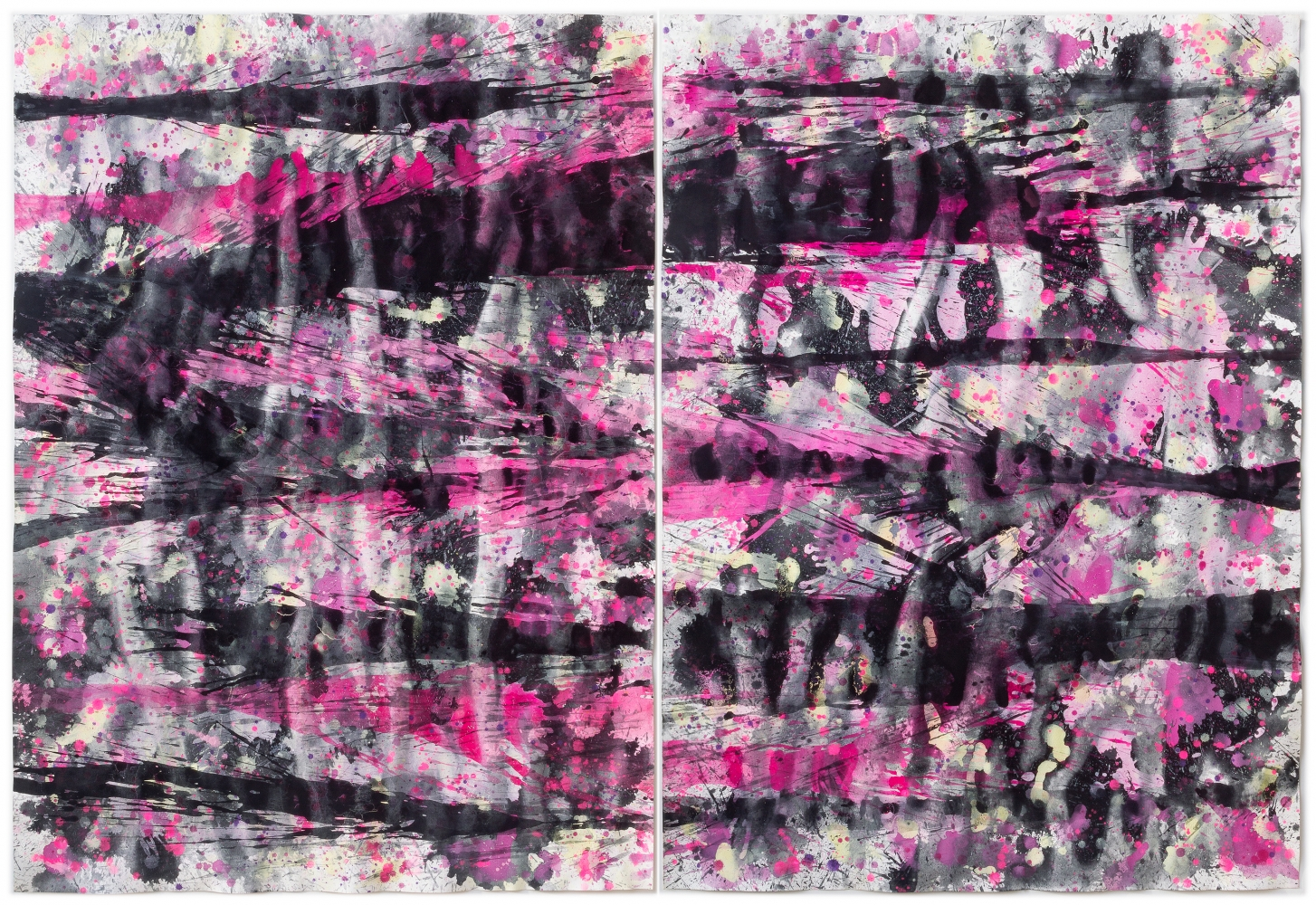 J. Steven Manolis-Flamingo 2014.02, gouache and watercolor painting on paper, 60 x 88 inches (2 panels 60 x 44 inches each), Pink Abstract Art, Tropical Watercolor paintings for sale at Manolis Projects Art Gallery, Miami, Fl