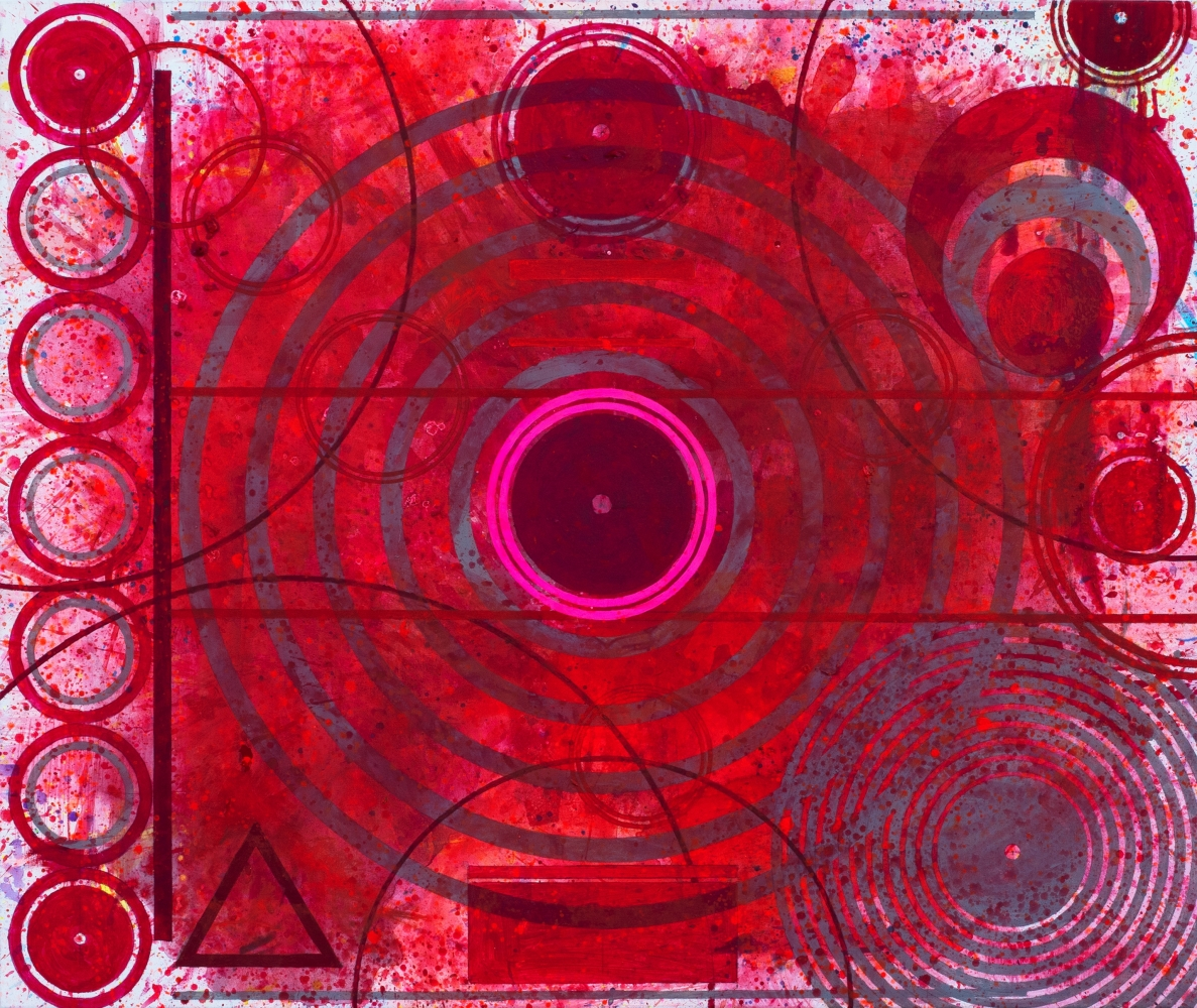 J. Steven Manolis, REDWORLD Concentric, 2019, Acrylic on canvas, 60 x 72 inches, Red Abstract Art, Large Abstract Wall Art for sale at Manolis Projects Art Gallery, Miami, Fl