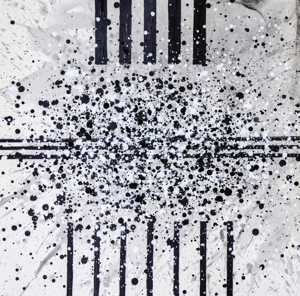 J. Steven Manolis, South Pointe Park (Black & White) 6, 2021, watercolor, acrylic and latex enamel on paper, 18 x 18 inches