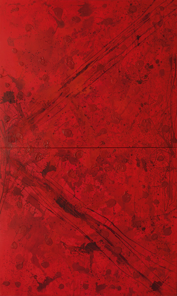 J. Steven Manolis, REDWORLD Feminine, 2016,  Acrylic and Latex Enamel on Canvas, 120 x 72 inches, Red Abstract Art, Large Abstract Wall Art for sale at Manolis Projects Art Gallery, Miami, Fl