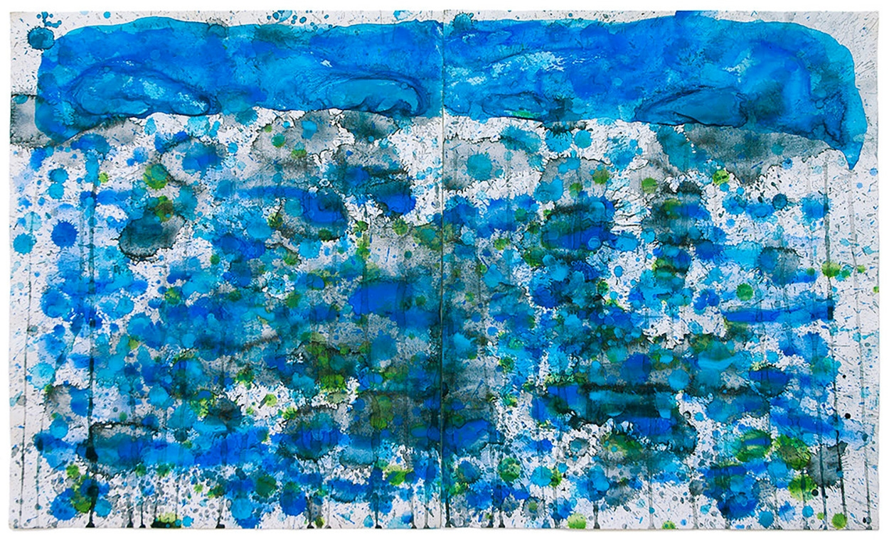J. Steven Manolis, Jellyfish (24.36.01), 2010, watercolor painting on paper, 24 x 36 inches, Watercolor jellyfish painting, Abstract expressionism art for sale at Manolis Projects Art Gallery, Miami, Fl