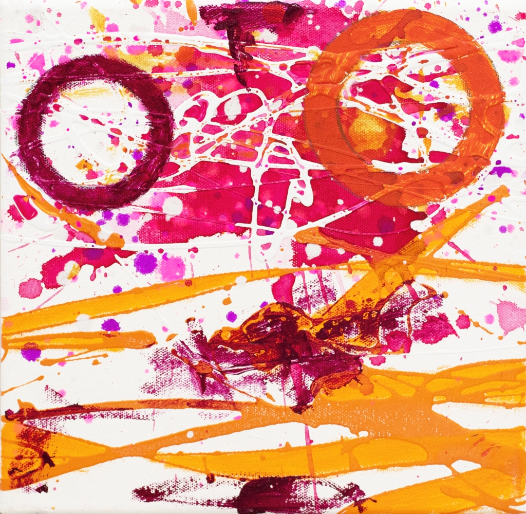 J. Steven Manolis, Flamingo 10.10.04, 2020, acrylic painting on canvas, 10 x 10 inches, Pink and Orange Abstract Art, Abstract expressionism art for sale at Manolis Projects Art Gallery, Miami, Fl