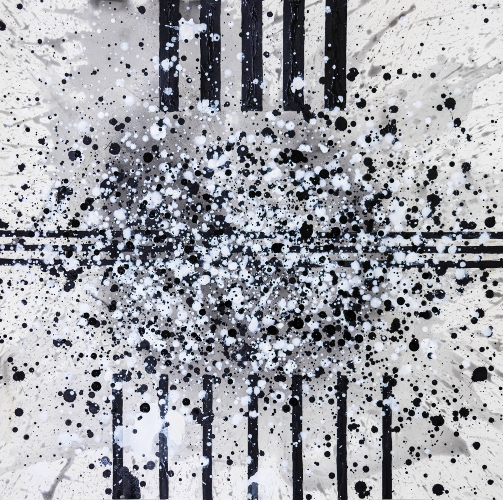 J. Steven Manolis, South Pointe Park (Black & White) 4, 2021, watercolor, acrylic and latex enamel on paper, 18 x 18 inches