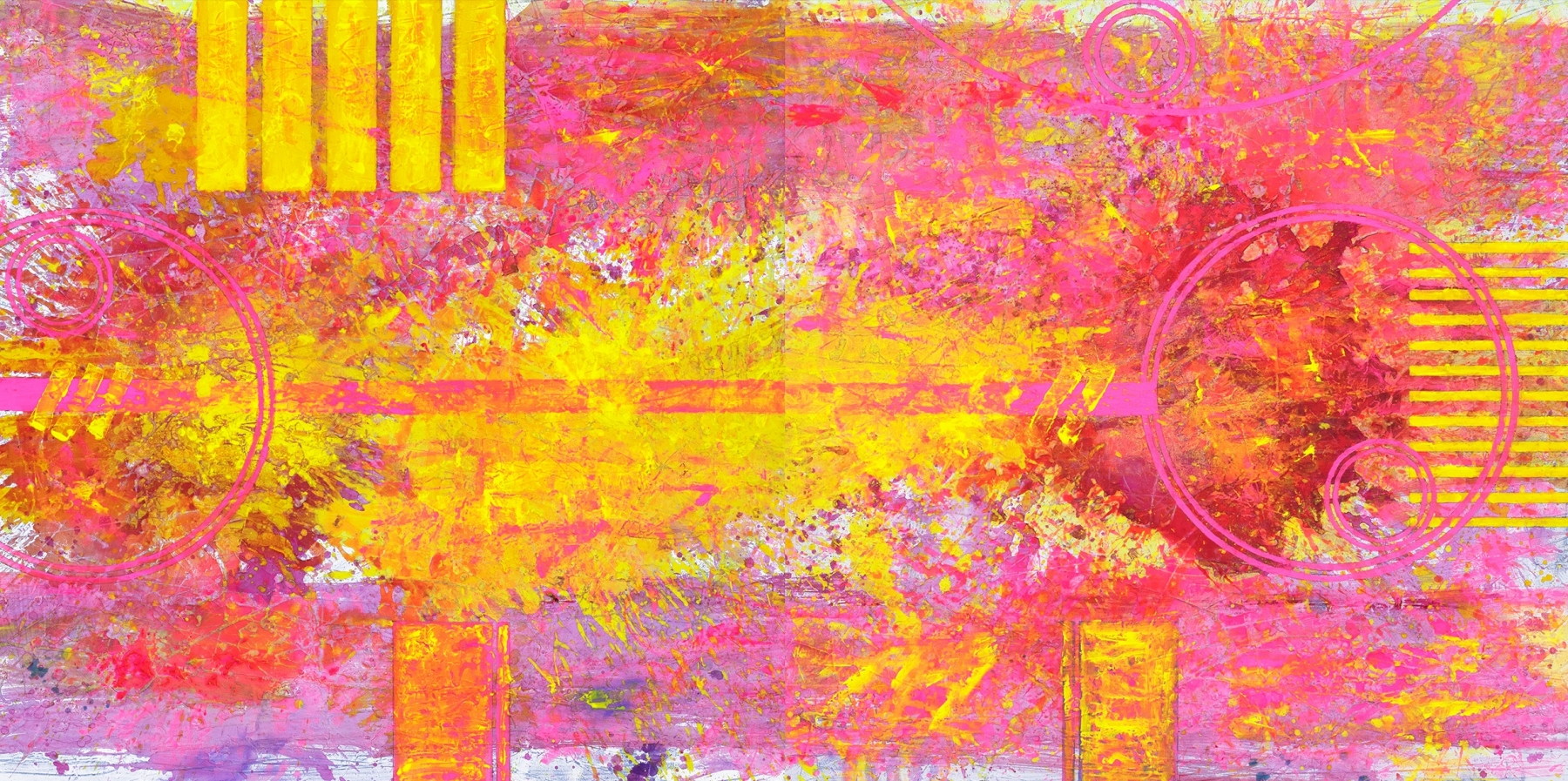 J. Steven Manolis, Biscayne Bay (Sunrise) 2019, Acrylic and Latex enamel on canvas, 48 x 96 inches, pink abstract art