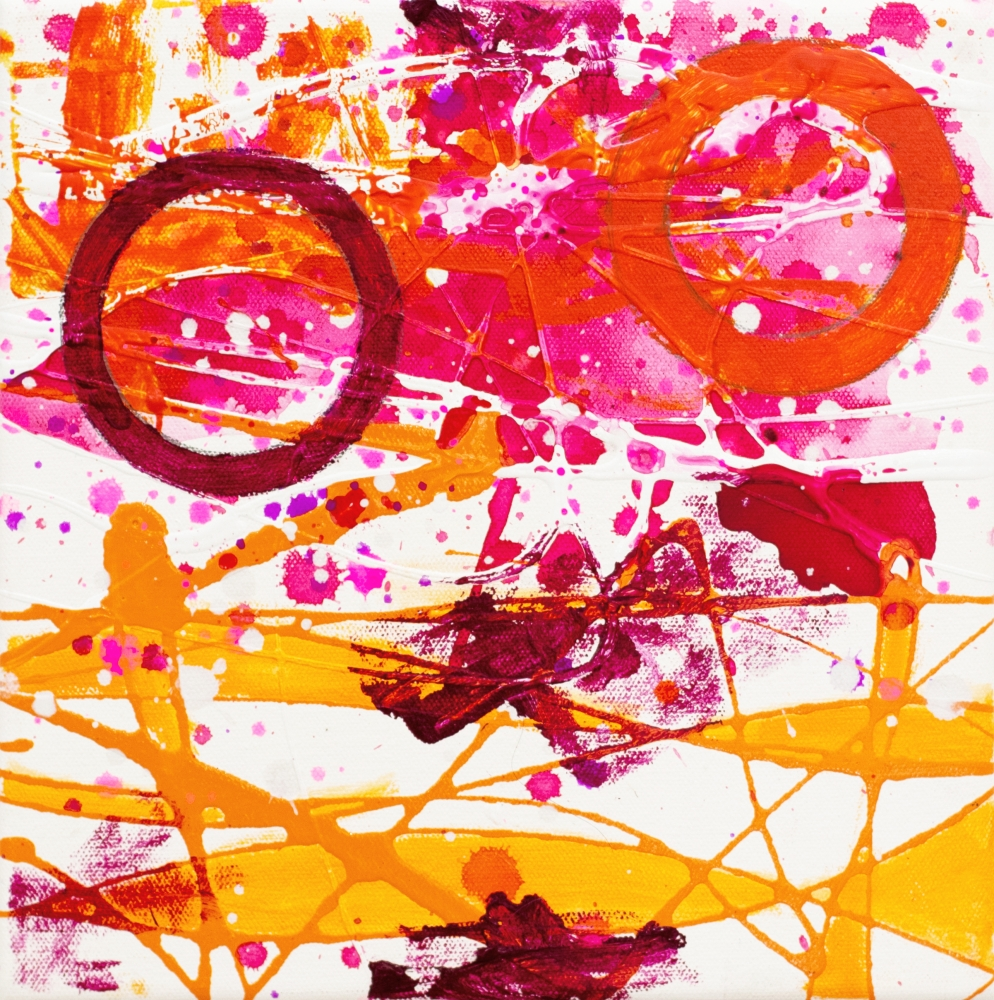 J. Steven Manolis, Flamingo 10.10.03, 2020, acrylic and latex painting on canvas, 10 x 10 inches, Flamingo Art, Abstract expressionism art for sale at Manolis Projects Art Gallery, Miami, Fl