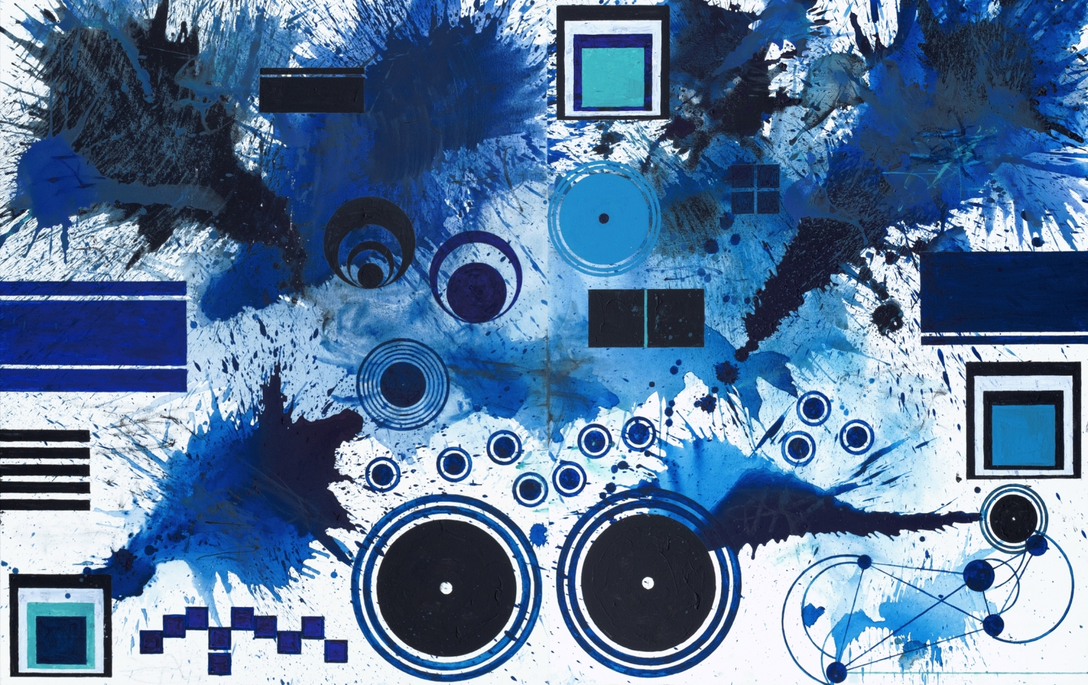 J. Steven Manolis, BlueLand Splash (Malibu), 2018, 60 x 96 inches, Acrylic paintings on canvas, Extra large Wall Art, Blue Abstract Art for sale at Manolis Projects Art Gallery, Miami, Fl