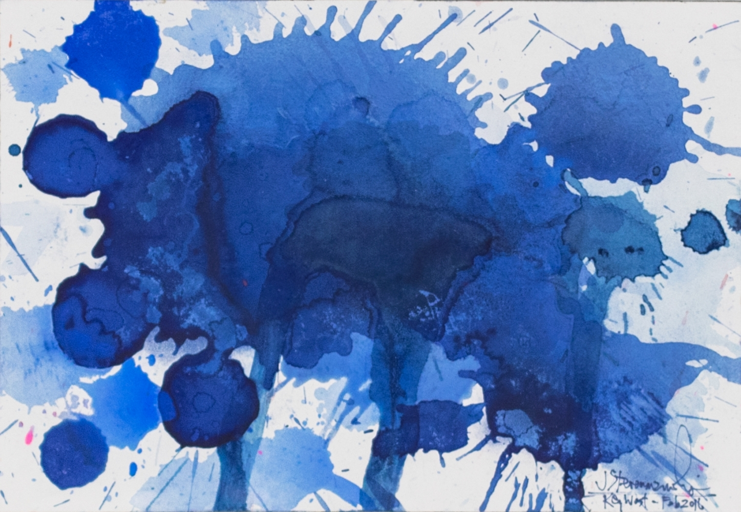 J. Steven Manolis, Splash (Key West), 07.10.08, Watercolor painting on Arches paper, 2016, 7 x 10 inches, Blue Abstract Art, Splash Art for sale at Manolis Projects Art Gallery, Miami, Fl