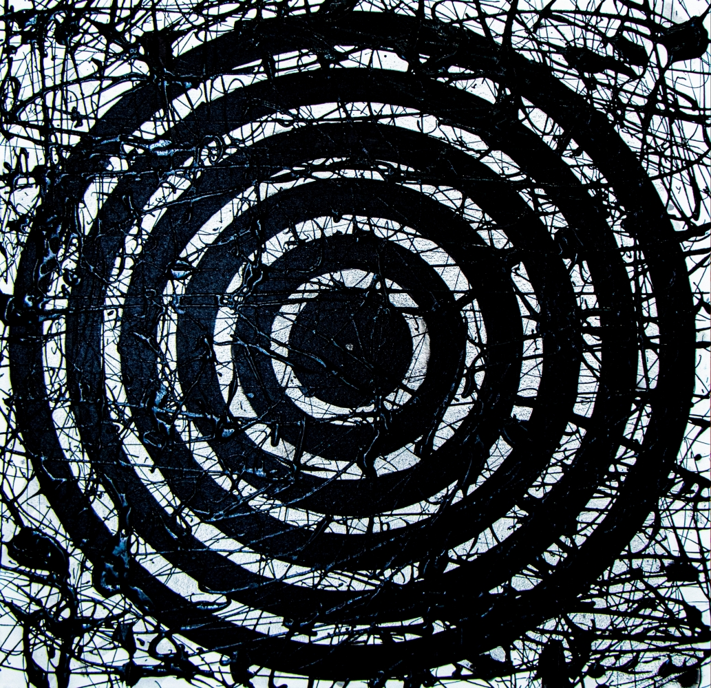 J. Steven Manolis,  Black & White Concentric 2020, 30 x 30 inches, Acrylic and Latex Enamel on Canvas, Black and White Abstract painting, Abstract expressionism art for sale at Manolis Projects Art Gallery, Miami, Fl