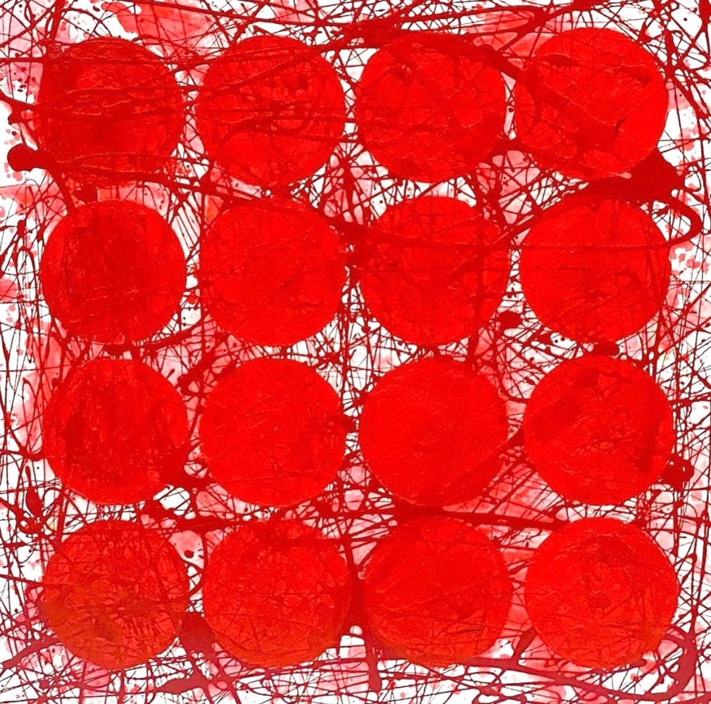 J. Steven Manolis, REDWORLD (Ferrari), 2020, Acrylic and Latex enamel on canvas, 24 x 24 inches, Red Abstract Painting, Abstract expressionism art for sale