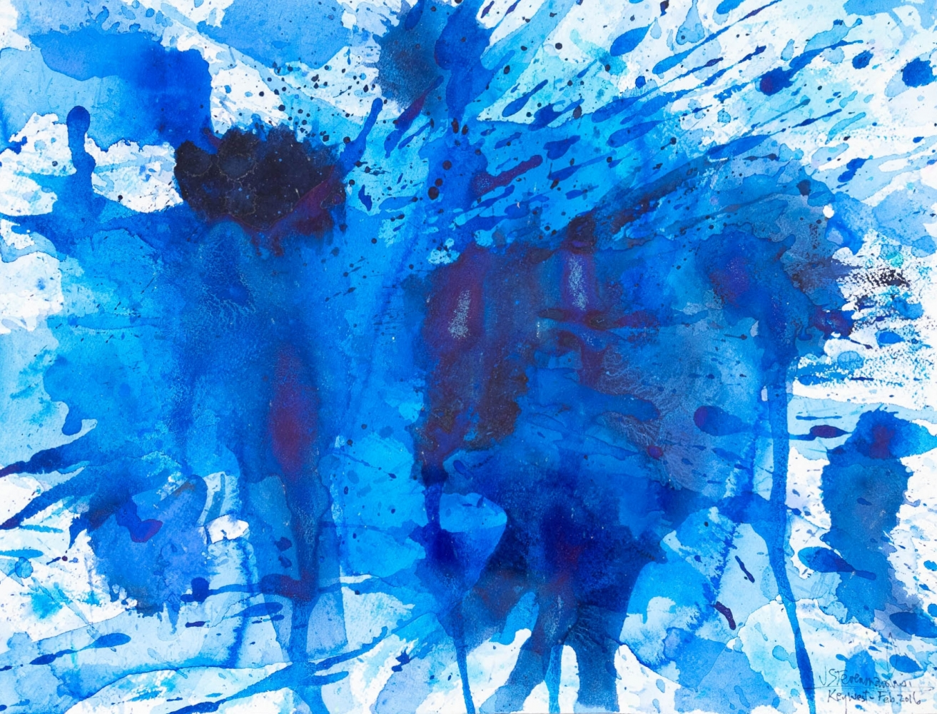 J. Steven Manolis, Splash-Key West (12.16.07), 2016, Watercolor, Acrylic and Gouache on paper, 12 x 16 inches, abstract expressionism art