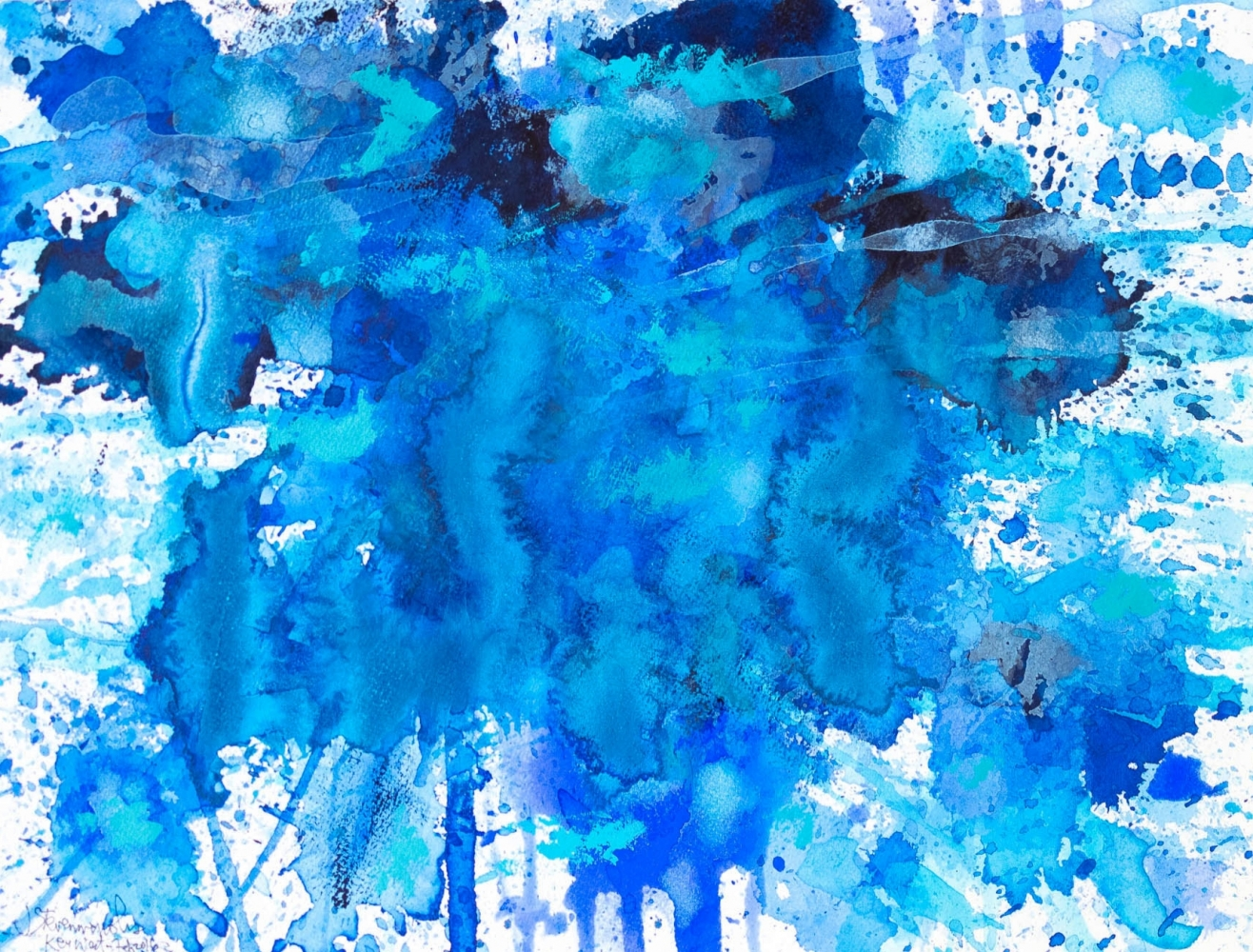 J. Steven Manolis, Splash-Key West (12.16.03), 2016, Watercolor, Acrylic and Gouache on paper, 12 x 16 inches, blue abstract expressionism art