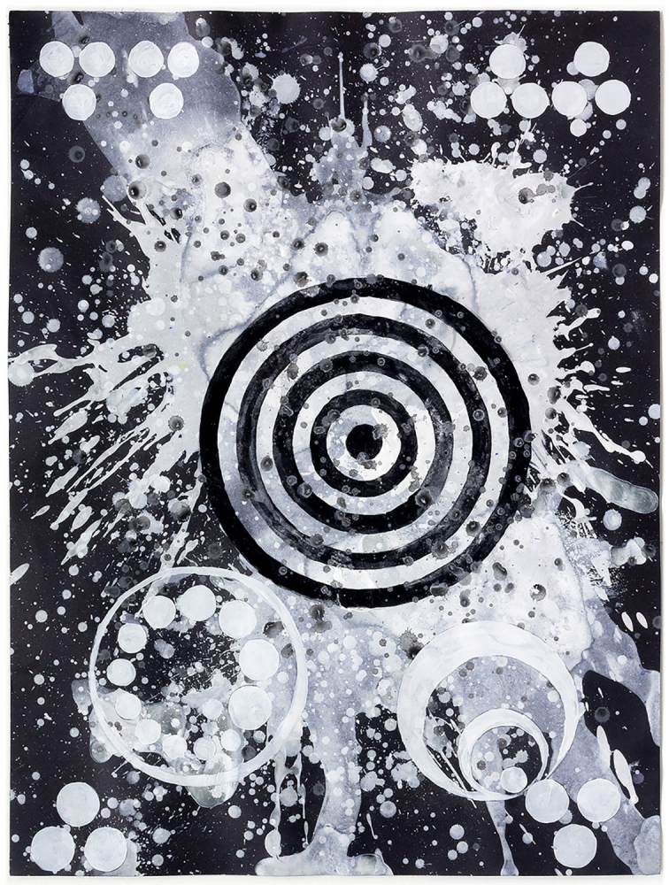 J. Steven Manolis, Tolerance, 2015.16, 2015, Watercolor and Gouache on paper, 24 x 18 inches, Black and White Abstract painting, Abstract expressionism art for sale at Manolis Projects Art Gallery, Miami, Fl