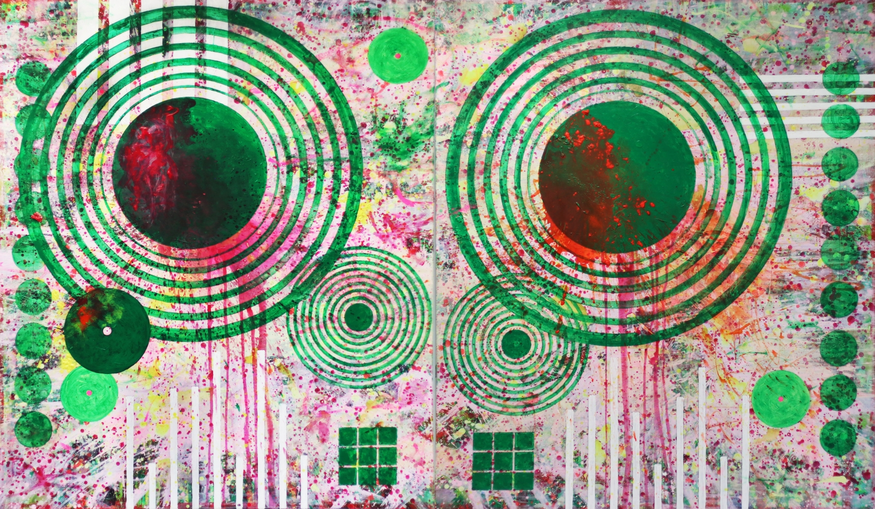 J. Steven Manolis, Target-Golf (Riviera), 2017, 72 x 120 inches, acrylic painting on canvas, geometric abstract expressionism art