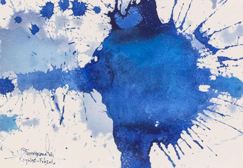 J. Steven Manolis, Splash (Key West) 07.10.01, 2016, Watercolor painting paper, 7 x 10 inches, Blue Abstract Art, Splash Art for sale at Manolis Projects Art Gallery, Miami, Fl
