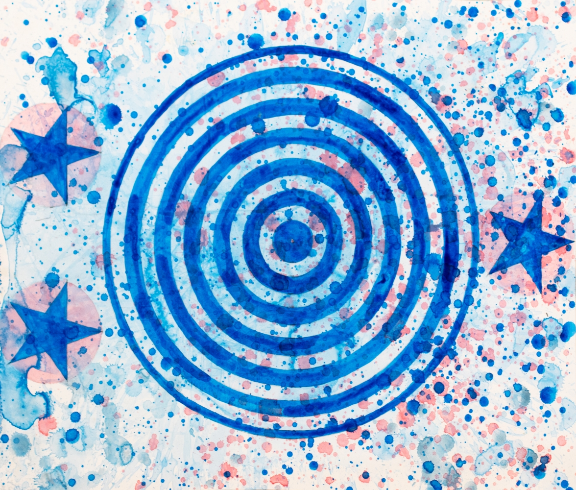 J. Steven Manolis, Patriot (Concentric), 2021, watercolor painting on paper, 17 x 24 inches, Abstract expressionism art