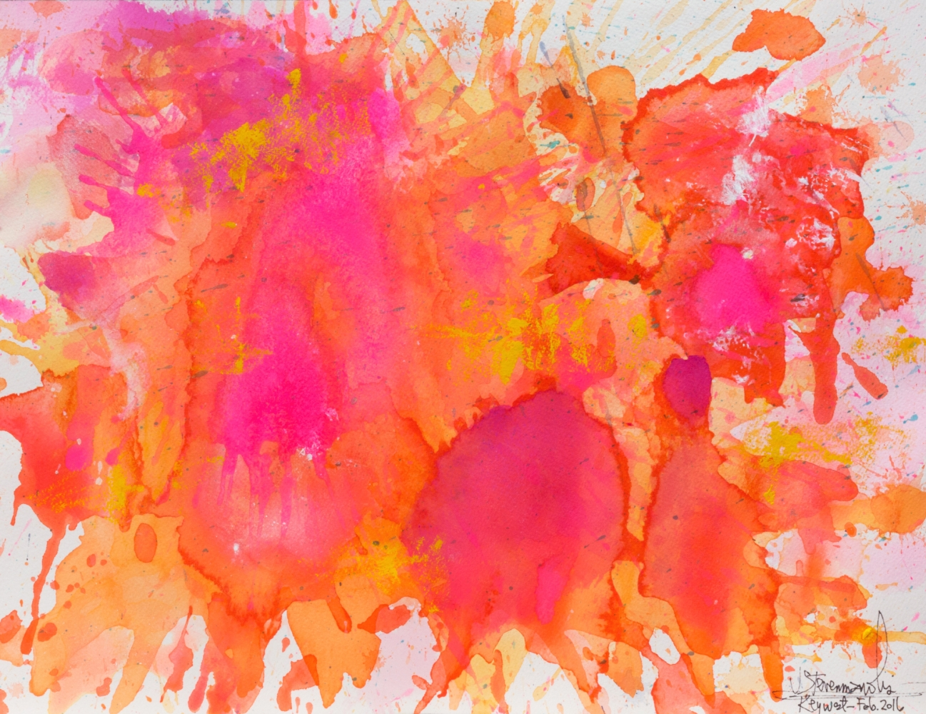 J. Steven Manolis, Flamingo-Key West, 1832-2016-1216.06, watercolor, gouache and acrylic painting on Arches paper, 12 x 16 inches, Pink and orange Abstract Art, Tropical Watercolor paintings for sale at Manolis Projects Art Gallery, Miami, Fl