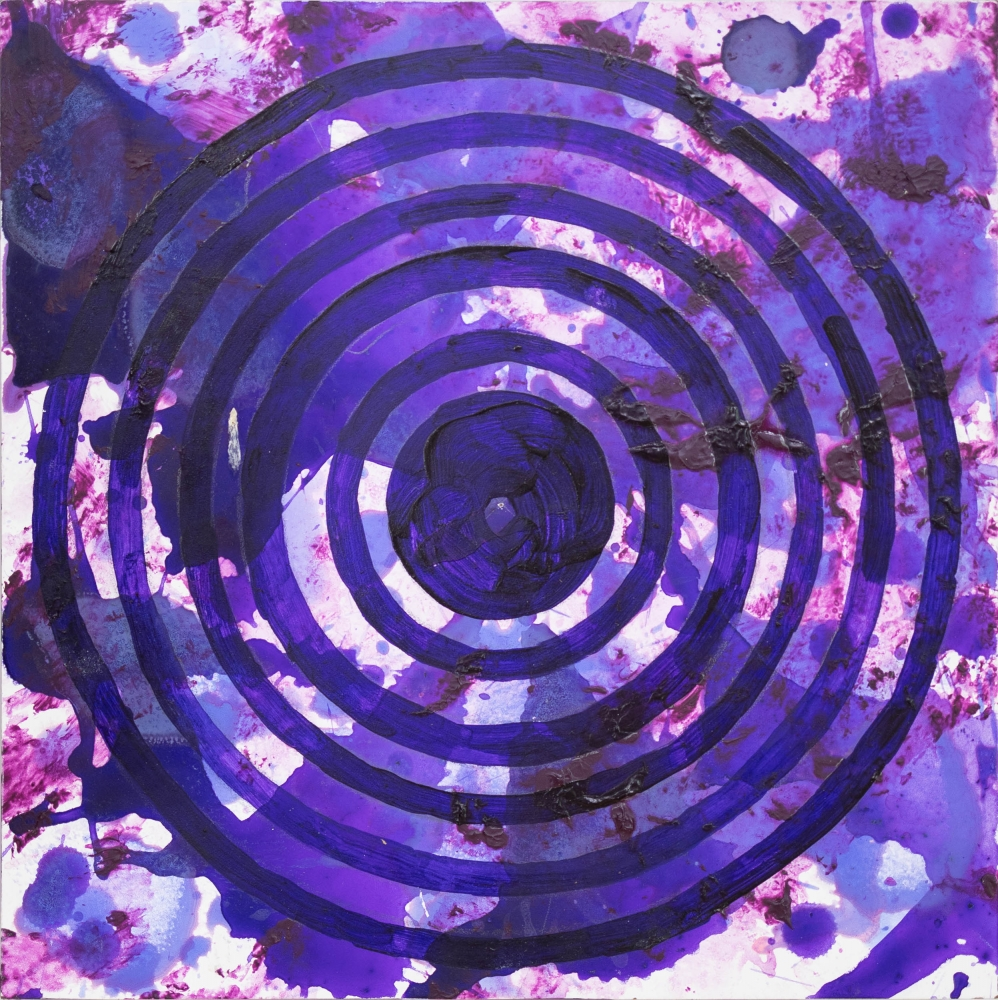 J. Steven Manolis, PurpleField (Concentric), 2020, Acrylic on woodblock, 12 x 12 inches, purple abstract expressionism art