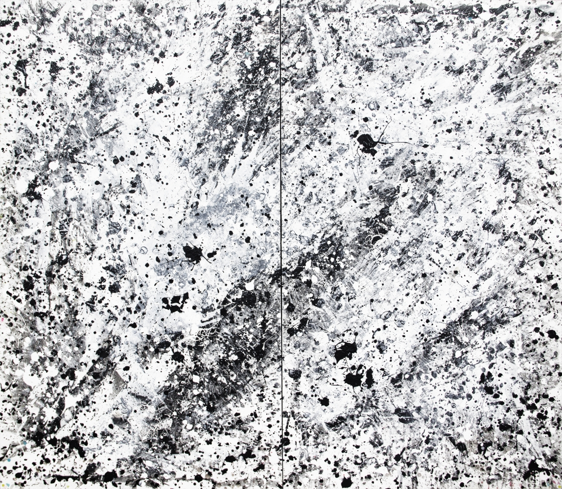 J. Steven Manolis, Black-&-White(Hurricane Series), 2014, 84 x 96 inches, 2014.03, Large Black and White Wall Art, Abstract expressionism art for sale at Manolis Projects Art Gallery, Miami, Fl