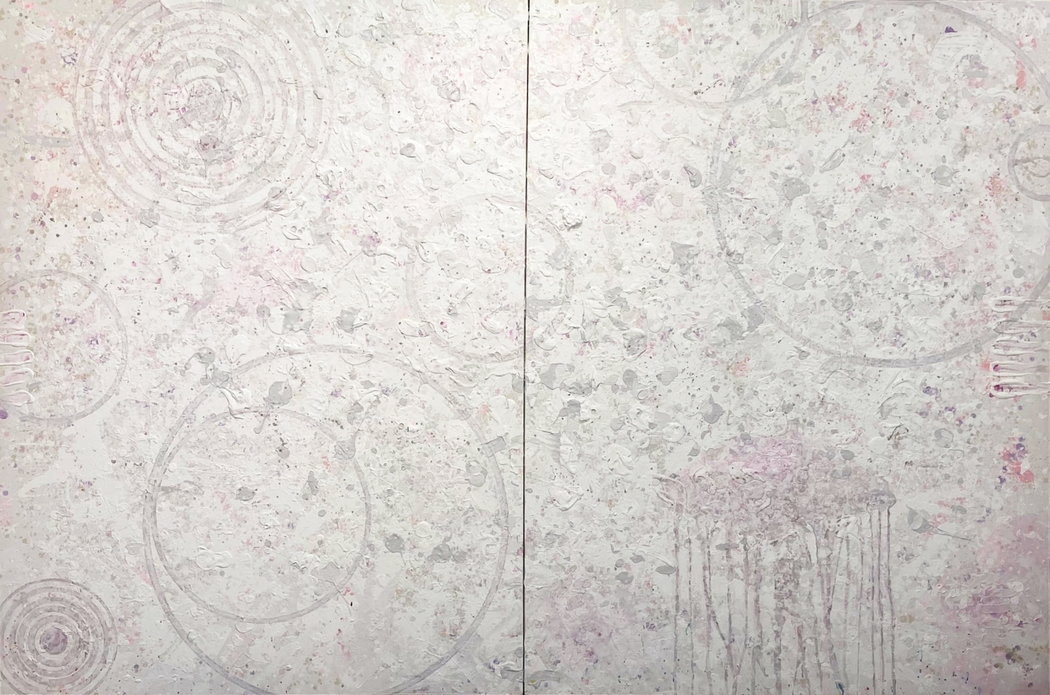 J. Steven Manolis, White on White (Peonies), 2017, Acrylic and Latex enamel on canvas, 72 x 120 inches, white abstract art, extra large abstract art