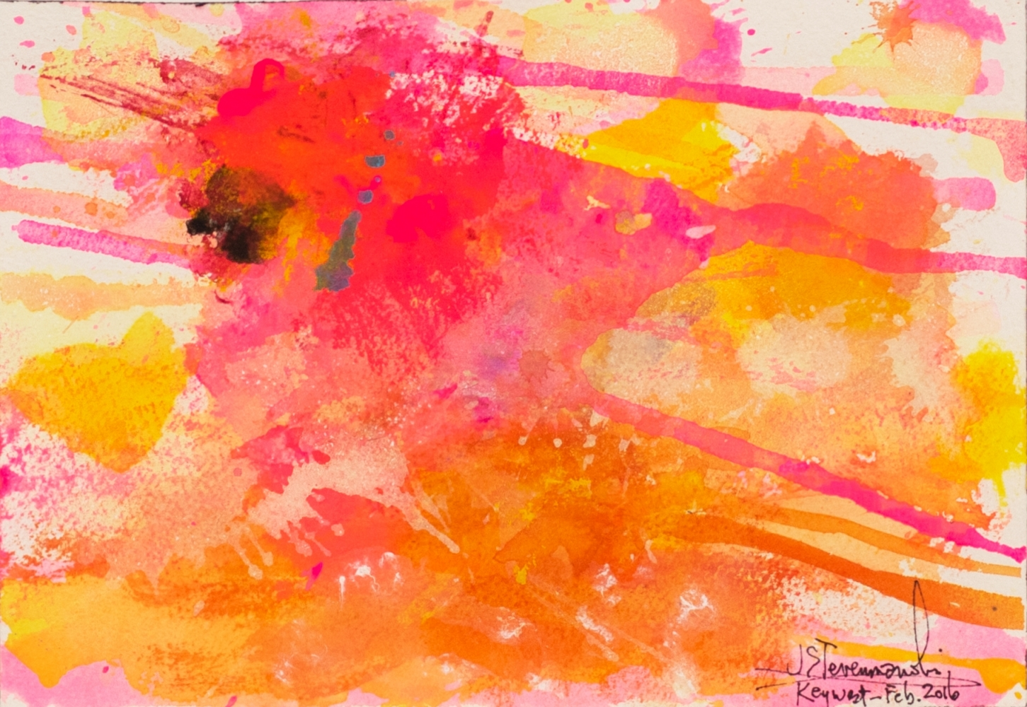 J. Steven Manolis, Flamingo 1832-2016 (Key West) 07.10.03, watercolor painting on paper, 7 x 10 inches, Pink and orange Abstract Art, Tropical Watercolor paintings for sale at Manolis Projects Art Gallery, Miami, Fl