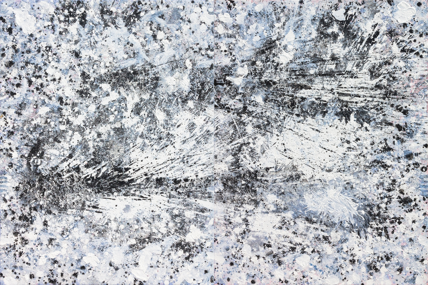 J. Steven Manolis, Black & White - Hurricane Series, 2015.07, acrylic on canvas, 48 x 72 inches, Large Black and White Wall Art, Abstract expressionism art for sale at Manolis Projects Art Gallery, Miami, Fl