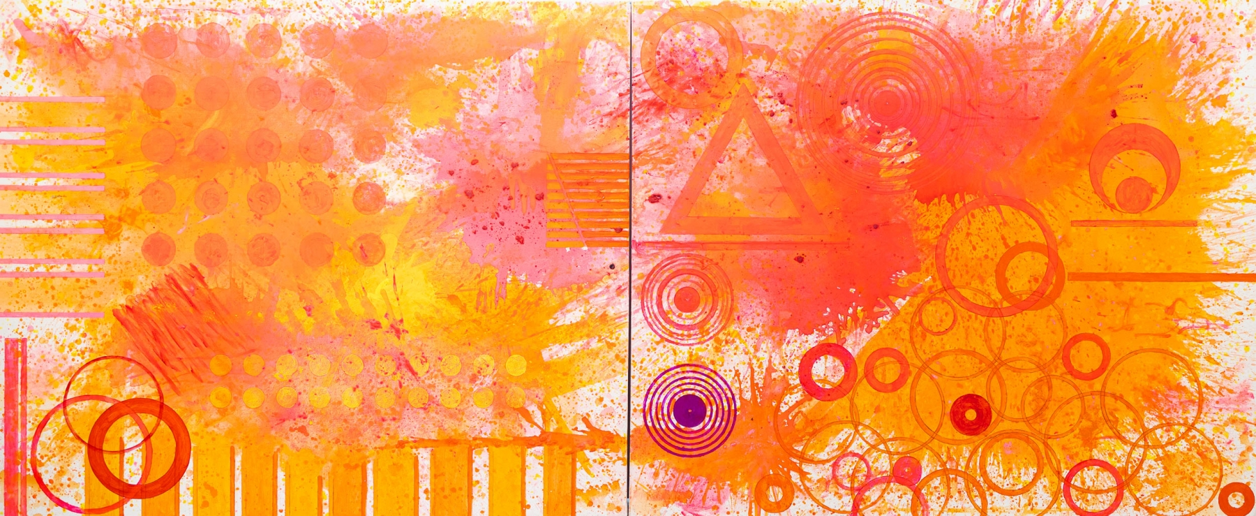 J. Steven Manolis, Flamingo painting, 2020, Acrylic painting on canvas, 60 x 144 inches, pink abstract art