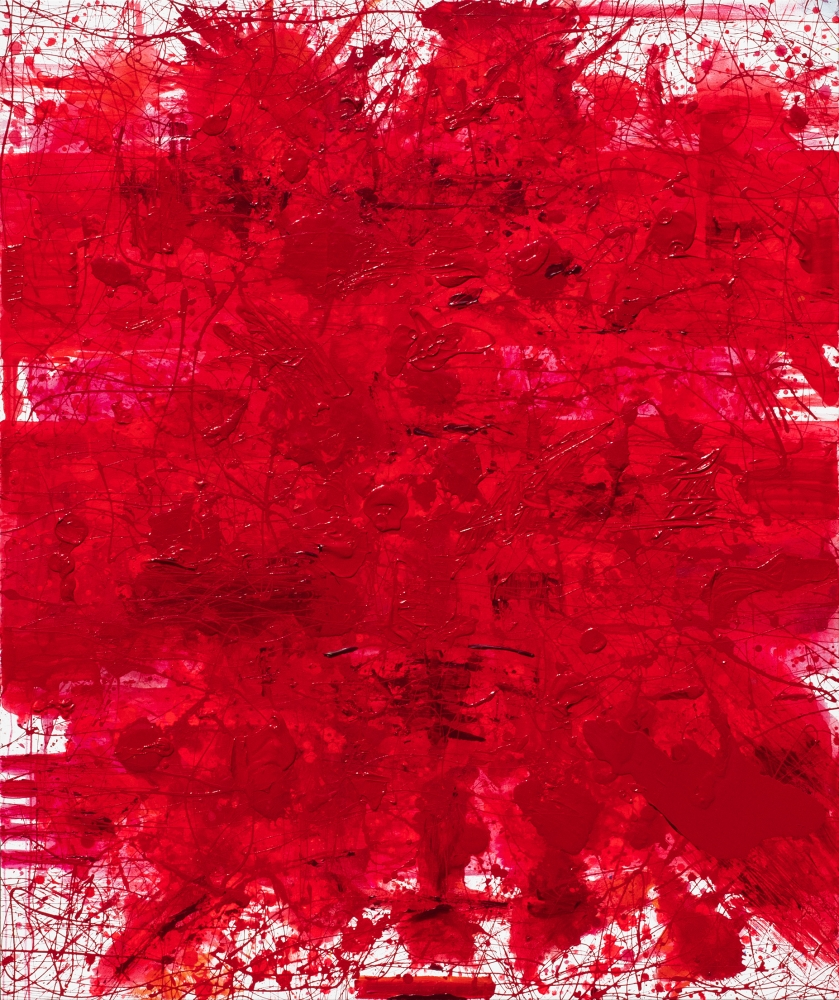 J. Steven Manolis, REDWORLD 2019, 72 x 60 inches, Acrylic and Latex Enamel on canvas, Red Abstract Art, Large Abstract Wall Art for sale at Manolis Projects Art Gallery, Miami, Fl