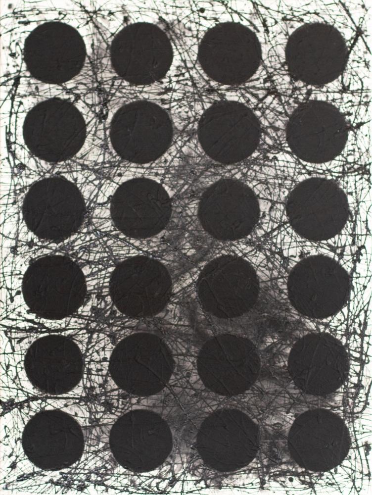 J. Steven Manolis, Black & White (Black Graphic), 2020, 48 x 36 inches, Acrylic and latex enamel on canvas