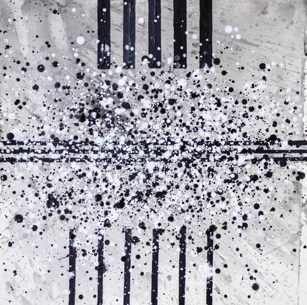 J. Steven Manolis, South Pointe Park (Black & White) 8, 2021, watercolor, acrylic and latex enamel on paper, 18 x 18 inches