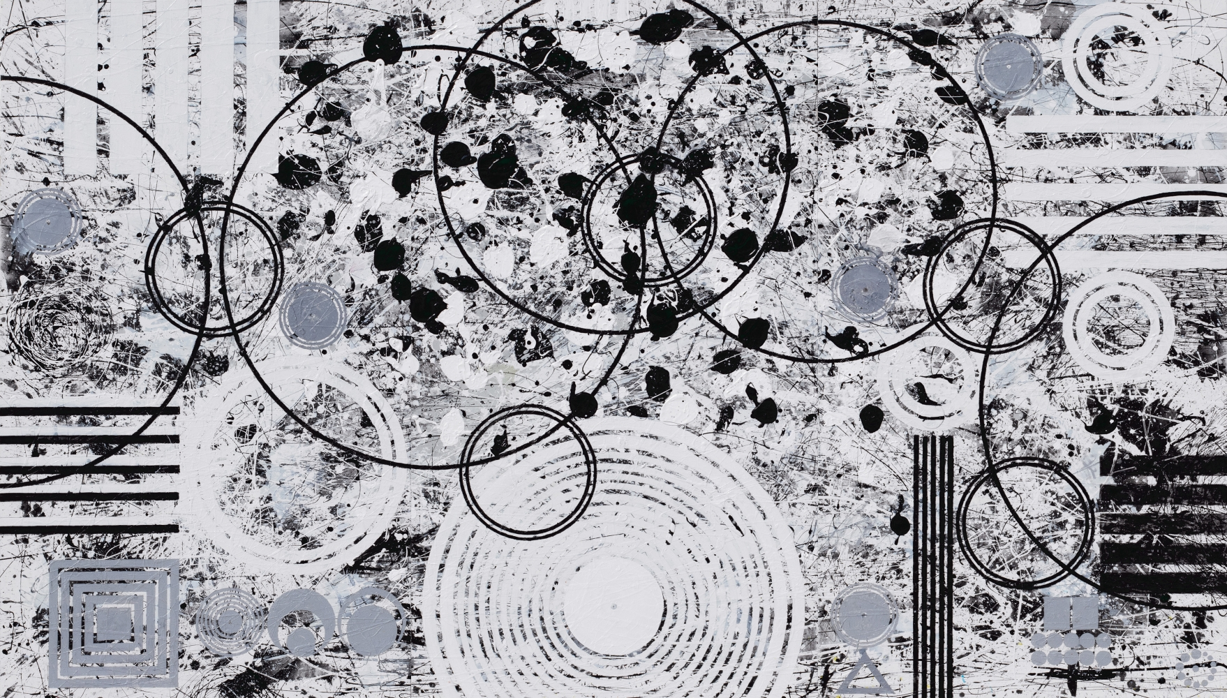 J. Steven Manolis, Black-and-White (Universe) 84.144.02, 2019, Acrylic on canvas, 84 x 144 inches, 84.144.02, Large Black and White Wall Art, Abstract expressionism paintings for sale at Manolis Projects Art Gallery, Miami, Fl