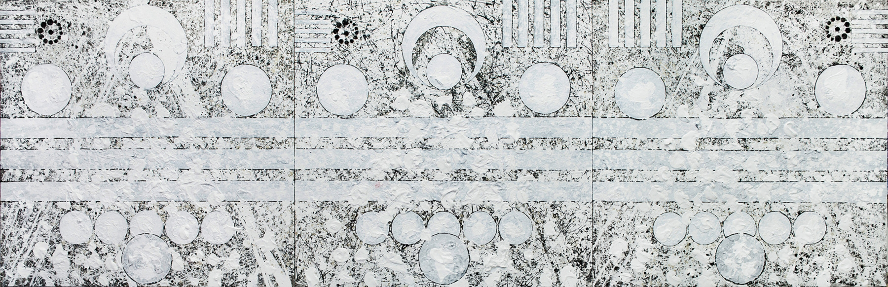 J. Steven Manolis, White on White (Past / Present / Future), Triptych, 2017, Acrylic and Gouache on canvas, 52 x 168 inches, Large Black and White Wall Art,Abstract expressionism art for sale at Manolis Projects Art Gallery, Miami, Fl