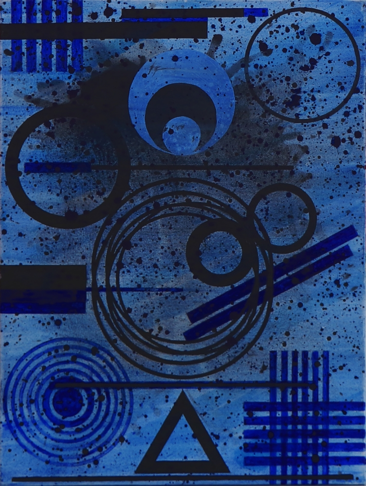 J. Steven Manolis, Blue Moon Glaze, 2020, 40 x 30 inches, Acrylic painting on canvas, Blue Abstract Art, Abstract expressionism art For sale at Manolis Projects Art Gallery, Miami Fl