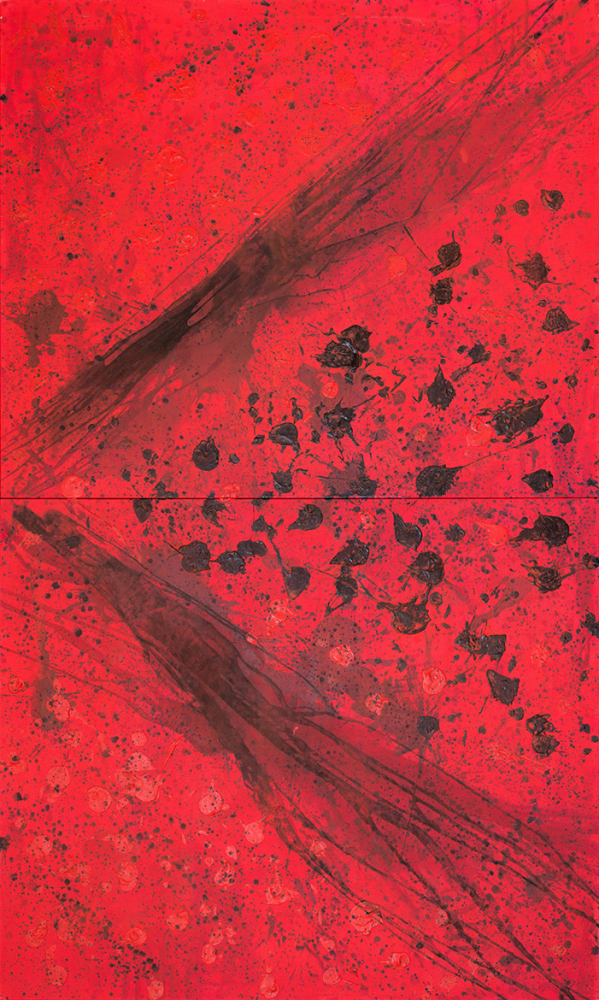 J. Steven Manolis (b. 1948 - ) REDWORLD Masculine, 2016, Acrylic and Latex Enamel on Canvas, 120 x 72 inches, Red Abstract Art, Large Abstract Wall Art for sale at Manolis Projects Art Gallery, Miami, Fl