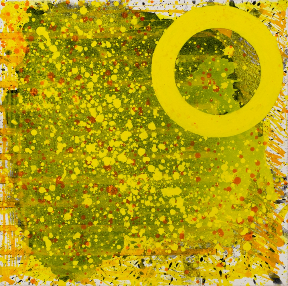 J.Steven Manolis, Sunshine (The Light after the Darkness) 24.24.01, 2020, acrylic painting on canvas, 24 x 24 inches, Sunshine art, Yellow Abstract Art for Sale at Manolis Projects Art Gallery, Miami Fl