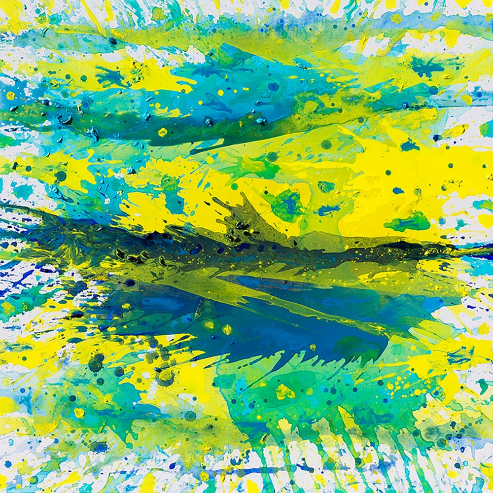 J. Steven Manolis, Biscayne Bay (Sun, Water & Sky), 2014, 36 x 36 inches, 2014.05, Abstract Tropical Painting, Miami Wall art For sale at Manolis Projects Art Gallery, Miami Fl