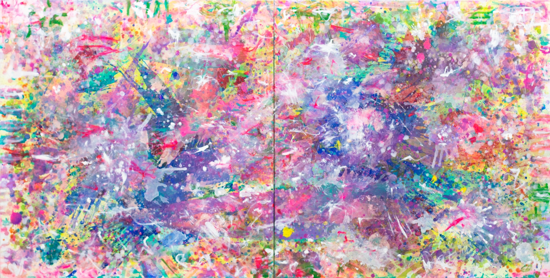 J. Steven Manolis, Color Matters, 2016, Acrylic painting on canvas, 48 x 96 inches, Colorful Abstract painting For sale at Manolis Projects Art Gallery, Miami Fl